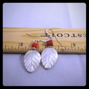 925 Sterling Silver Mother of Pearl Leaf Earrings